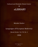 Languages of European Modernity (In: Slovak Review)